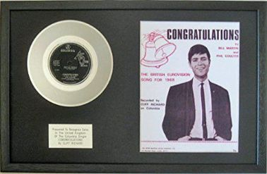 "Cliff Richard - 7"" Platinum Disc & Song Sheet - Congratulations"